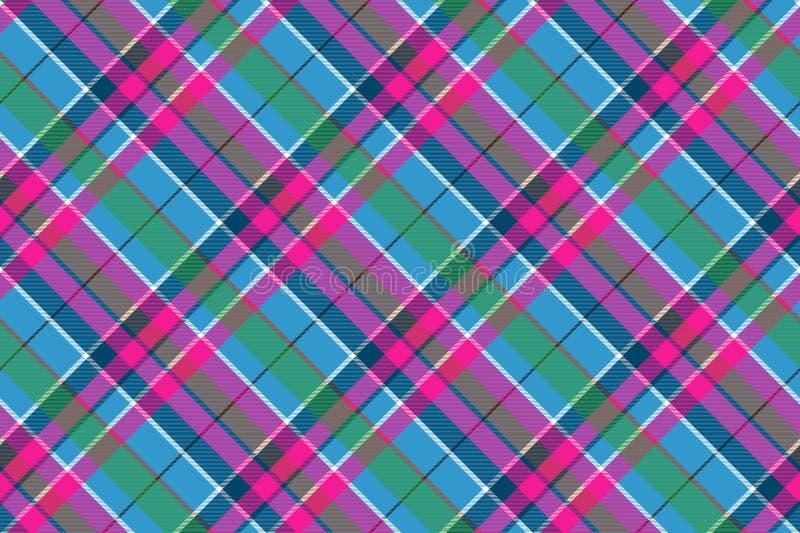 织品纺织品蓝色桃红色绿色检查格子花呢披肩无缝的样式 皇族释放例证
