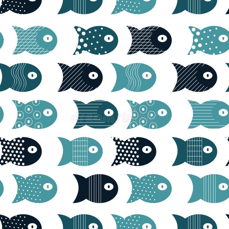 织品纺织品设计的鱼无缝的样式,枕头,墙纸,布料,袋子,剪贴薄纸 向量例证