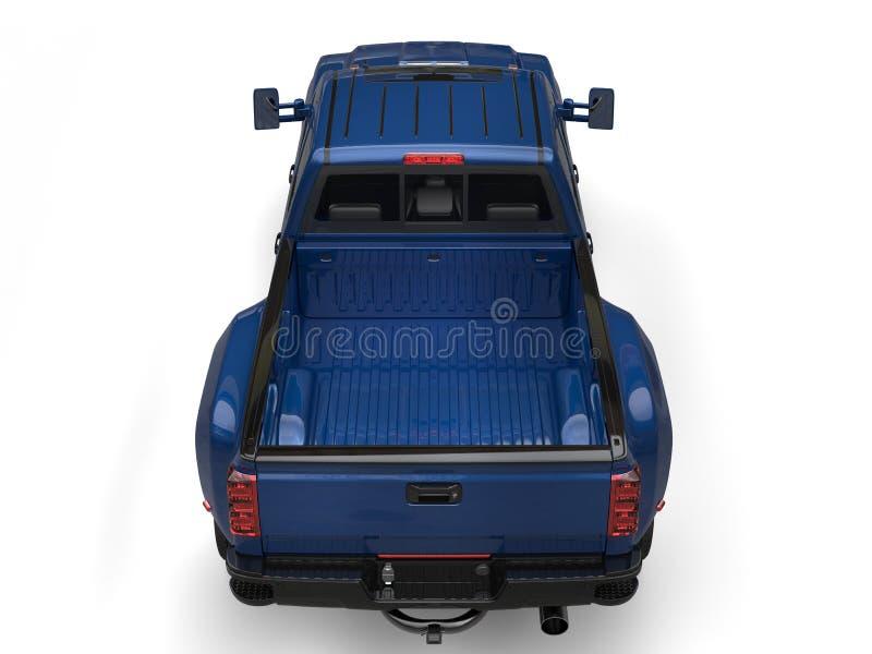 品蓝卡车-冠上在后面看法下 库存例证