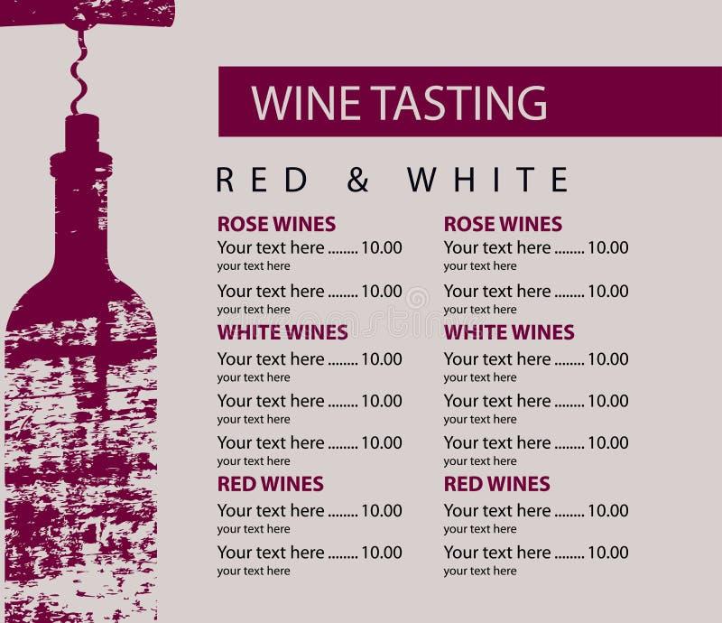 品酒的菜单与瓶和拔塞螺旋 皇族释放例证