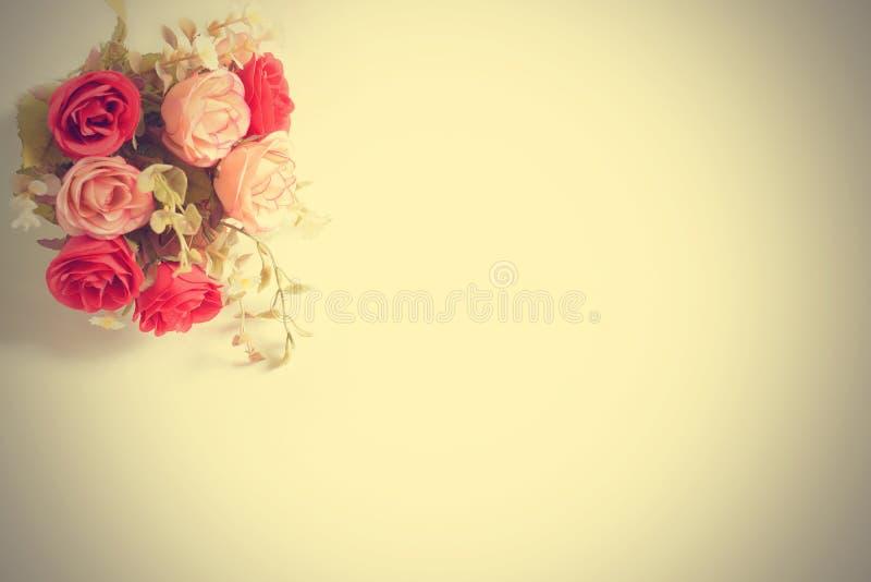 织品颜色玫瑰为与拷贝空间的背景开花 免版税库存图片
