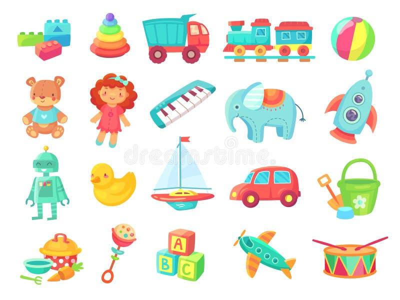 哄骗动画片玩具 娃娃,在铁路、球、汽车、小船、男孩和女孩乐趣的火车隔绝了塑料玩具传染媒介 库存例证