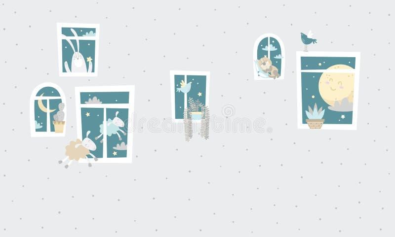 哄骗图表例证 使用为在墙壁、枕头、装饰孩子内部、婴孩穿戴和衬衣,贺卡, v上的印刷品 皇族释放例证
