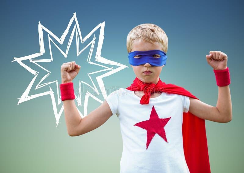 哄骗在屈曲他的胳膊的超级英雄服装反对绿色背景 皇族释放例证