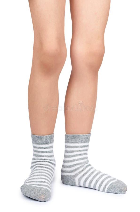 哄骗在白色背景隔绝的镶边袜子的腿 免版税库存图片