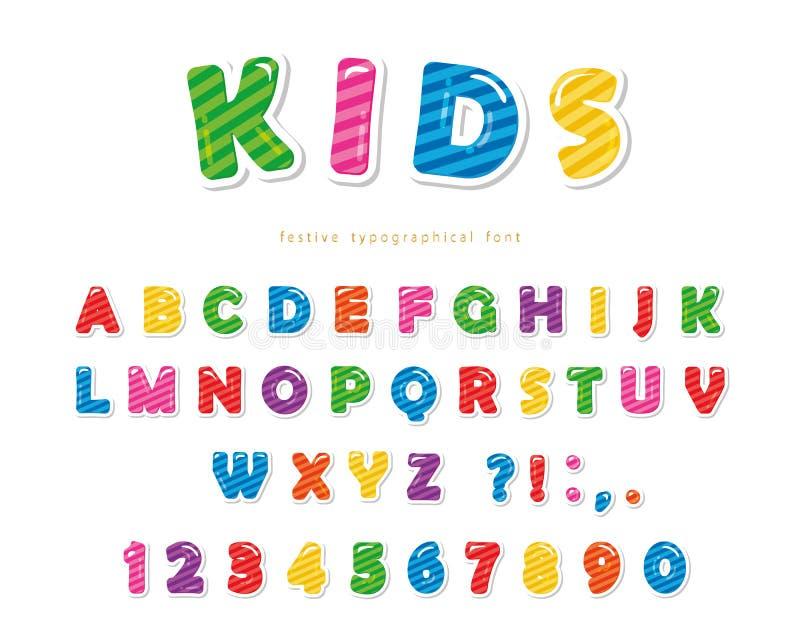 哄骗字体 动画片光滑的五颜六色的信件和数字 皇族释放例证