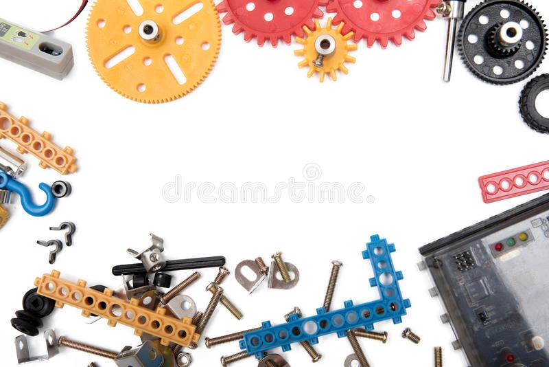 哄骗建筑玩具工具,五颜六色的玩具工具 库存图片
