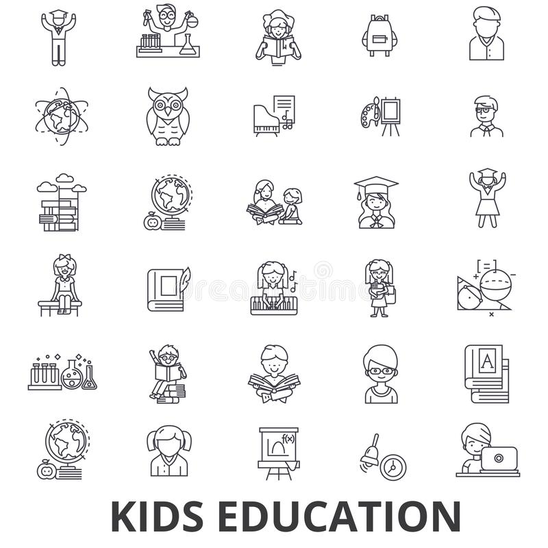 哄骗教育,学会,教育背景,学校,教育技术线象 编辑可能的冲程 平的设计 皇族释放例证