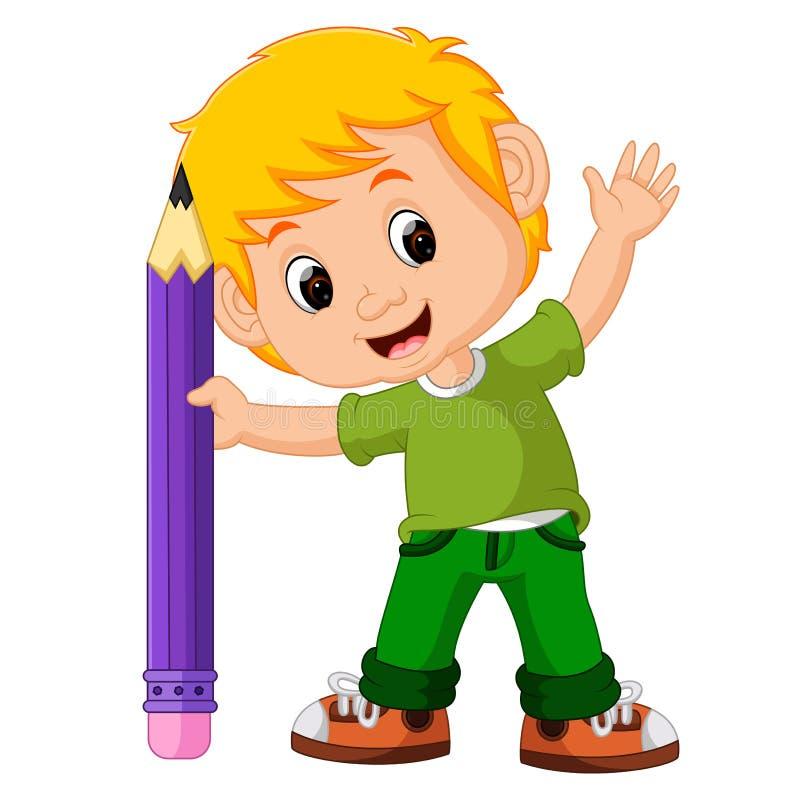 哄骗有大铅笔动画片的男孩 库存例证