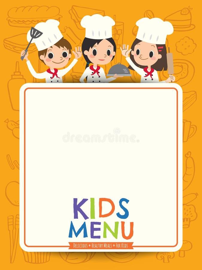 哄骗有空白的菜单板动画片的菜单年轻厨师孩子 皇族释放例证