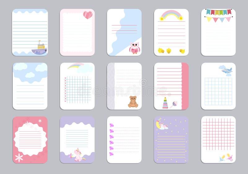 哄骗笔记本页模板传染媒介卡片,笔记,贴纸,标签,标记纸板料例证 库存例证