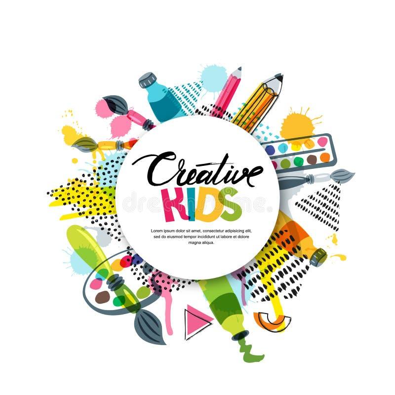 哄骗艺术工艺,教育,创造性类 导航横幅,海报有白皮书背景,手拉的信件 向量例证