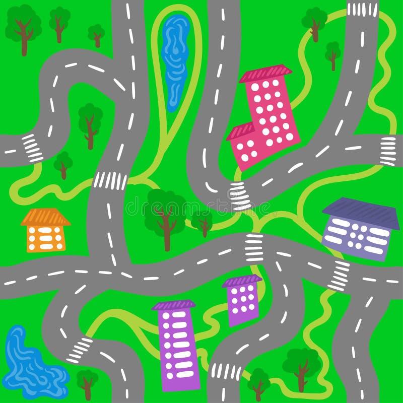 哄骗镇地图-孩子的无缝的传染媒介城市样式 向量例证