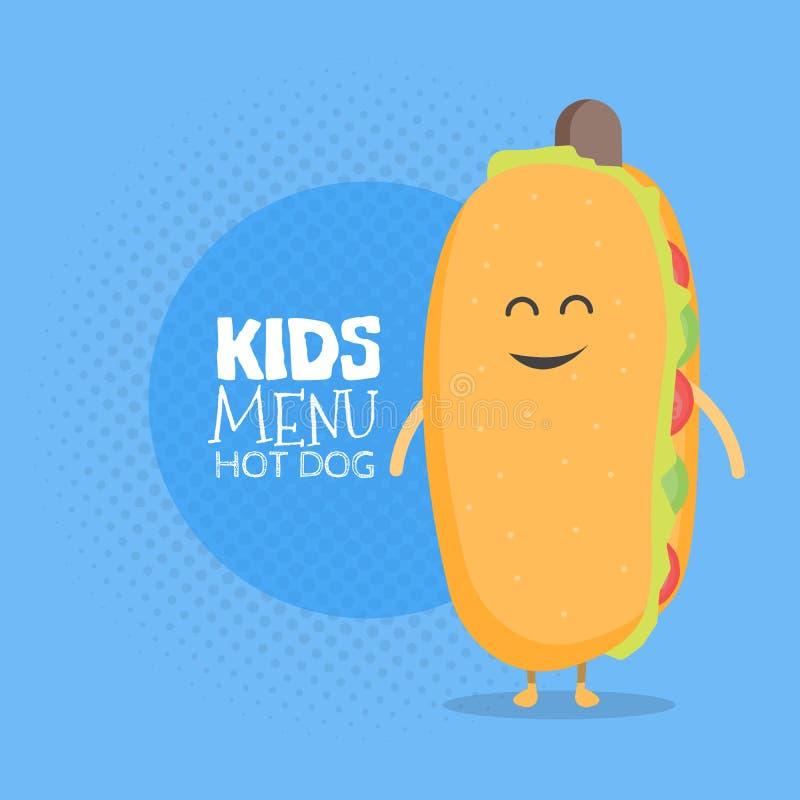 哄骗餐馆菜单纸板字符 滑稽的逗人喜爱的热狗画与微笑、眼睛和手 皇族释放例证