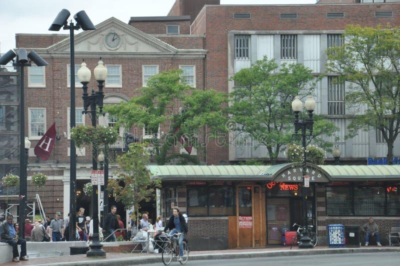 哈佛广场驻地在剑桥,马萨诸塞 免版税库存照片