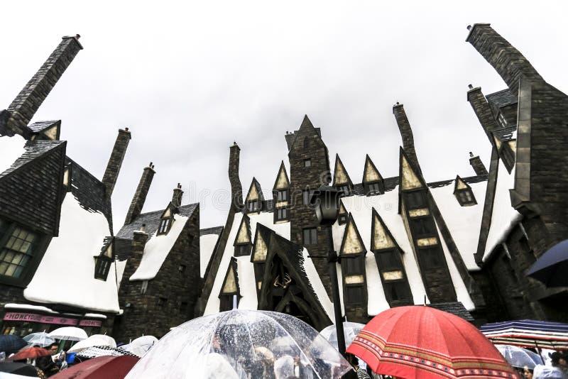 哈利・波特巫术师守旧派中世纪城堡大厦教会建筑学大阪日本 库存图片