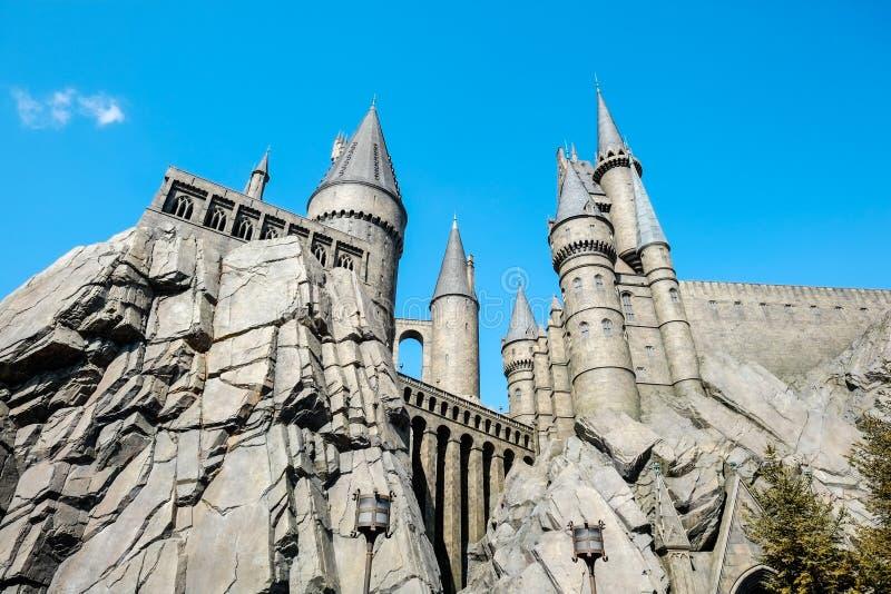 哈利・波特Wizarding世界日本环球影城的USJ,大阪,日本 免版税库存照片