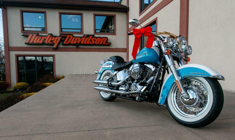 哈利戴维森商店和摩托车 库存图片