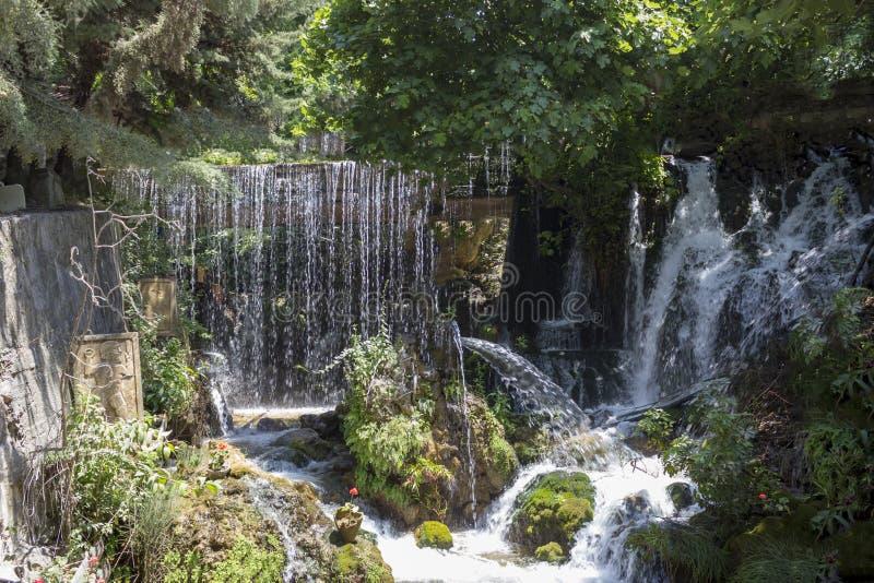 哈尔比耶瀑布在Yayladag,Hatay -土耳其 免版税库存图片