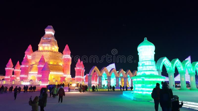哈尔滨冰节日雕塑 库存照片