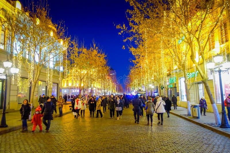哈尔滨,中国- 2017年2月9日:用美好的圣诞灯装饰的步行街道风景看法在城市 图库摄影