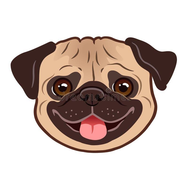 哈巴狗狗动画片例证 逗人喜爱的友好的肥胖胖的小鹿哈巴狗 皇族释放例证