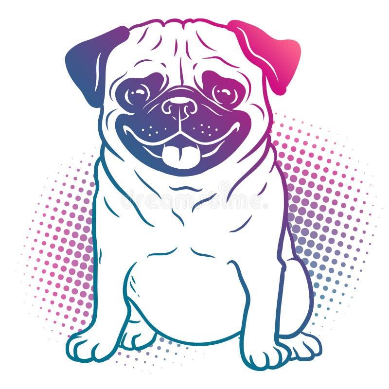哈巴狗狗流行艺术在明亮的霓虹彩虹颜色的样式例证 向量例证