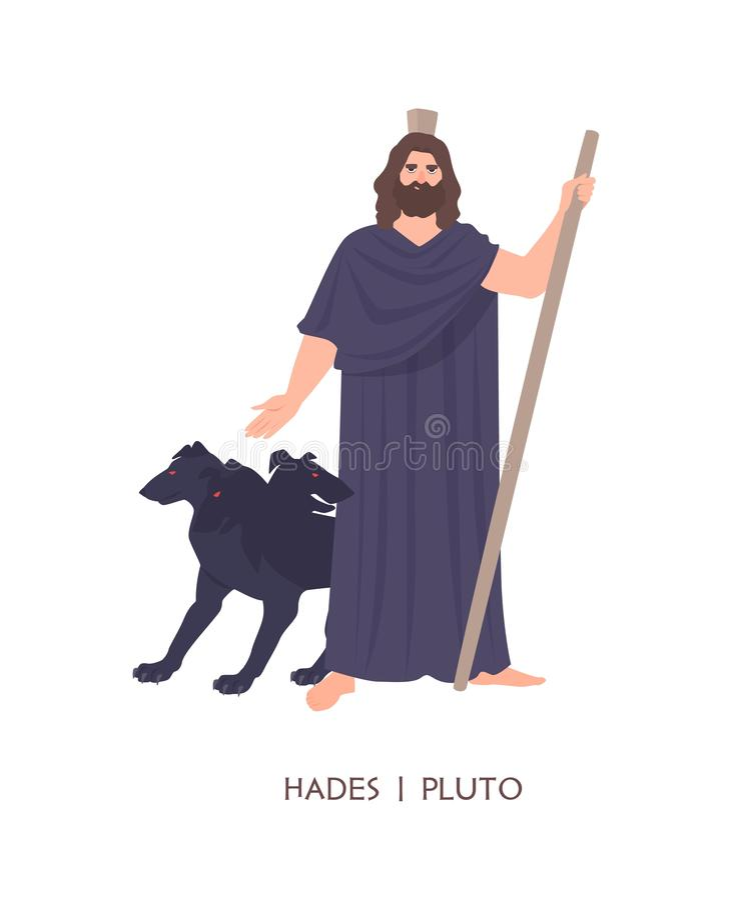 哈底斯或冥王星-地狱的神死,国王在古希腊和罗马宗教或神话方面 男性动画片 库存例证