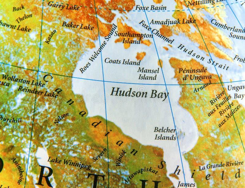 哈德森湾地理地图在加拿大国家 库存图片