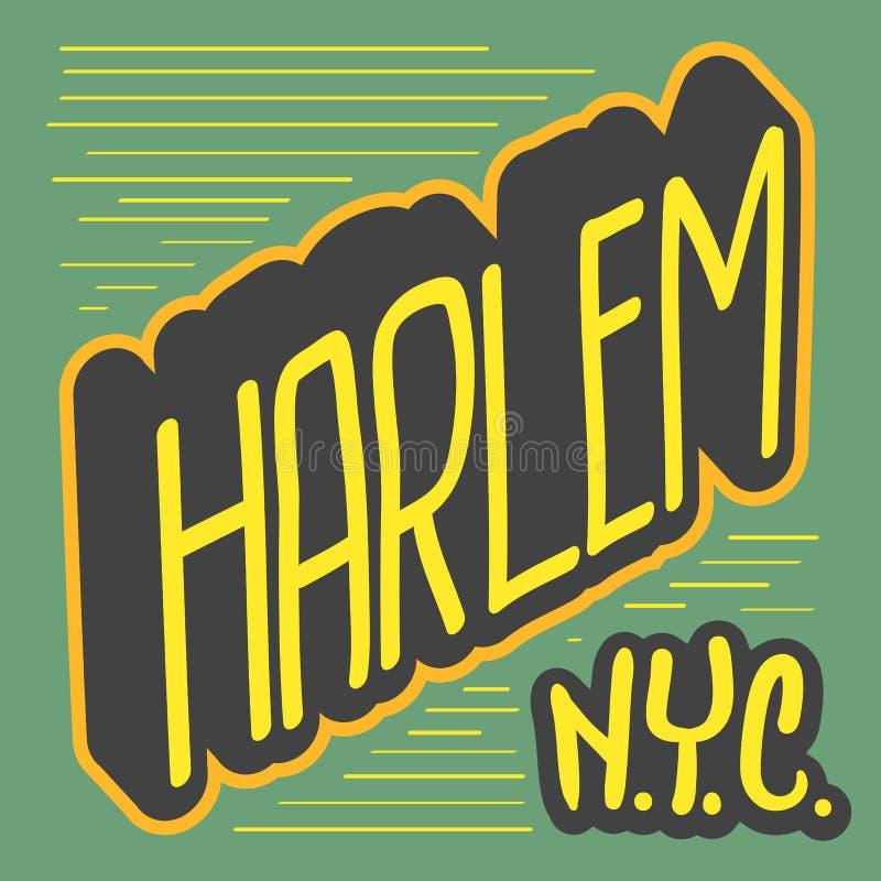 哈林纽约美国标记标志商标T恤杉或贴纸传染媒介图象的手拉的字法 皇族释放例证