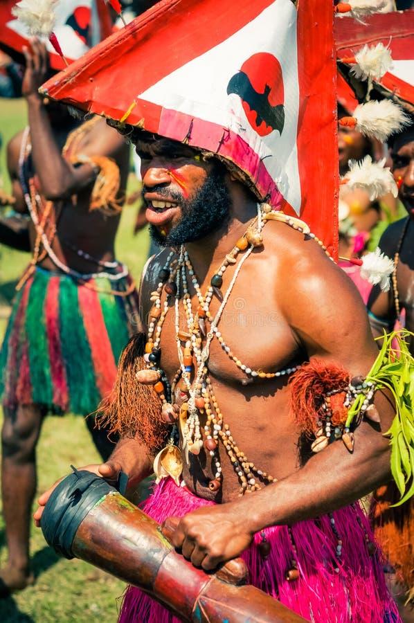 哈根展示的男孩在巴布亚新几内亚 免版税库存图片
