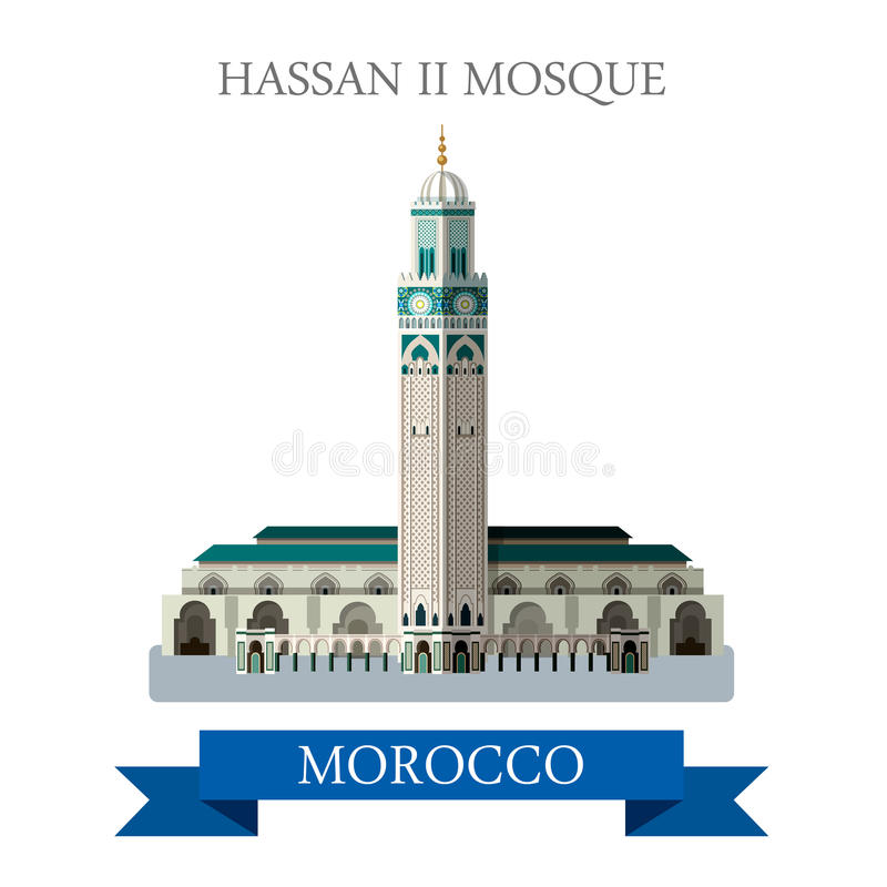 哈桑二世清真寺在摩洛哥 平的动画片传染媒介我 向量例证