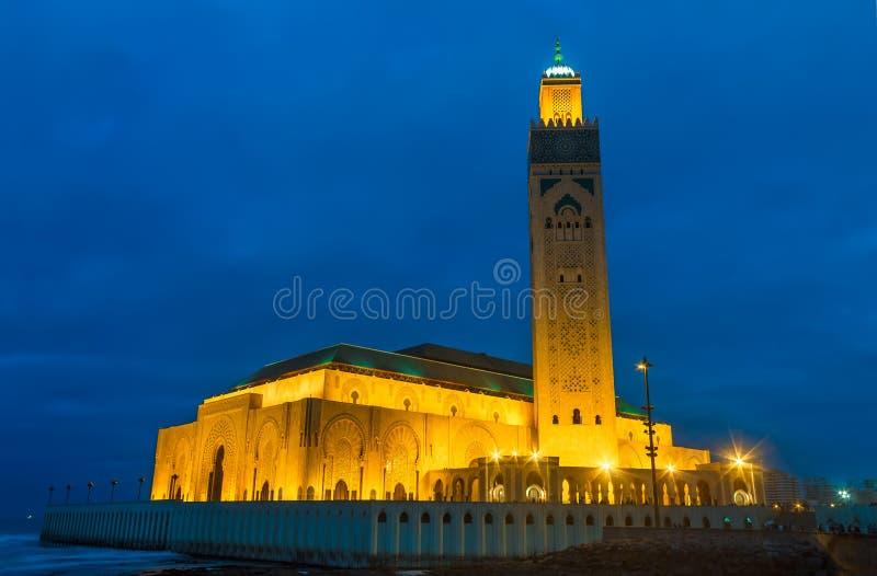 哈桑二世清真寺或重创的清真寺哈桑二世是一个清真寺在卡萨布兰卡,摩洛哥 它是最大的清真寺在摩洛哥 库存照片