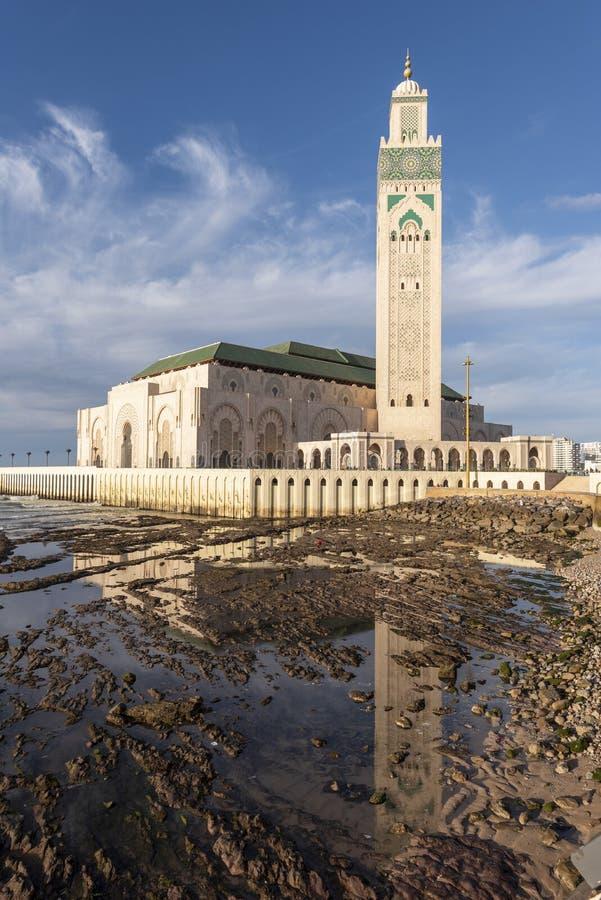 哈桑二世清真寺,卡萨布兰卡,摩洛哥 免版税库存照片