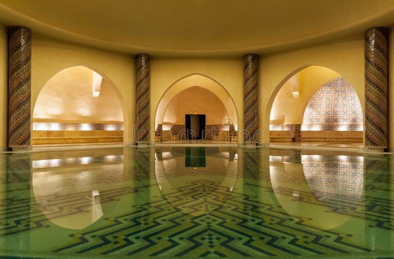 哈桑II清真寺Hammam在卡萨布兰卡摩洛哥 免版税库存图片