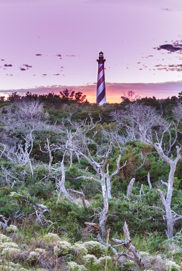 哈特拉斯角灯塔垂直北卡罗来纳 免版税库存照片
