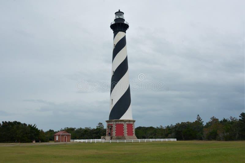 哈特拉斯角灯塔是一个偶象结构沿海外滩群岛在北卡罗来纳 免版税库存图片