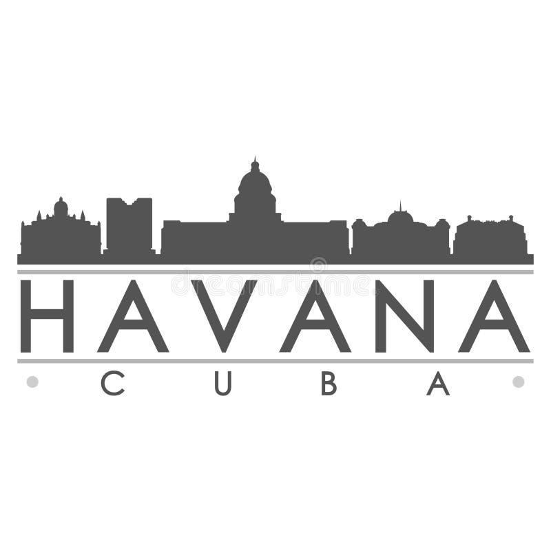 哈瓦那剪影设计城市传染媒介艺术 皇族释放例证