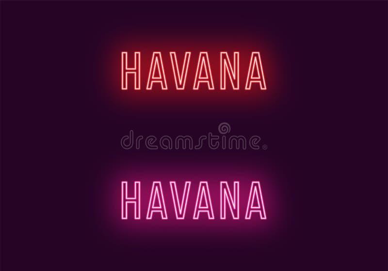 哈瓦那市的霓虹名字在古巴 传染媒介文本 皇族释放例证