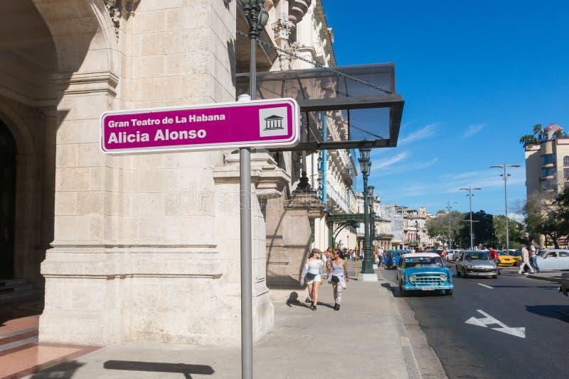 哈瓦那艾丽西亚阿隆索巨大剧院在古巴 著名剧院 免版税库存图片
