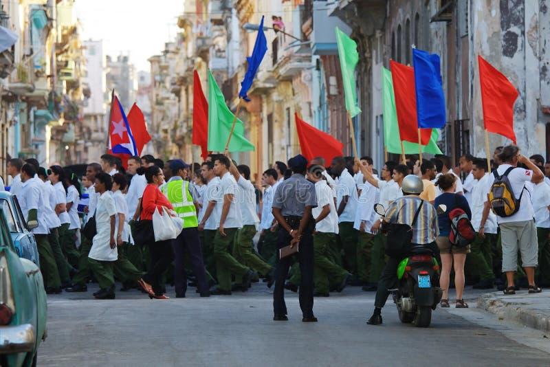 哈瓦那行军工作者 库存照片
