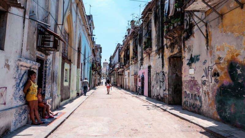 哈瓦那街透视古巴 免版税库存图片