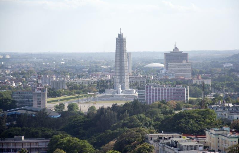 哈瓦那,古巴-何塞马蒂纪念品鸟瞰图  库存图片