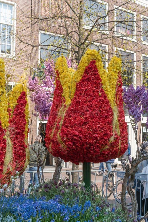 哈莱姆,荷兰–2019年4月14日:Bloemencorso BollenStreek,欢乐景象,用花装饰的车,面孔  免版税图库摄影