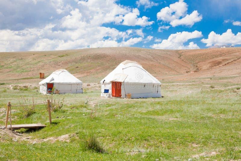 哈萨克人二yurt 图库摄影