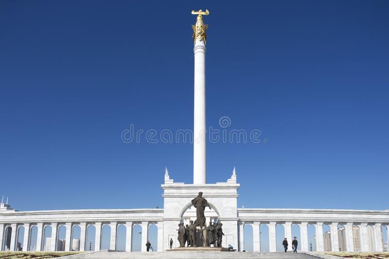 哈萨克人伊莱纪念碑在阿斯塔纳,哈萨克斯坦 免版税库存照片
