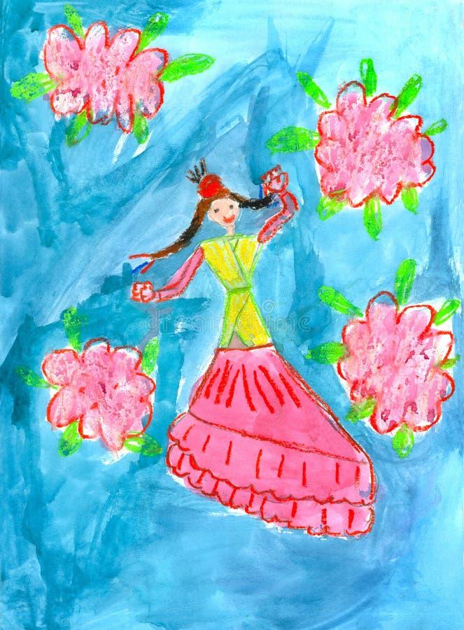 哈萨克人在全国服装的女孩跳舞 ??` s?? 库存照片