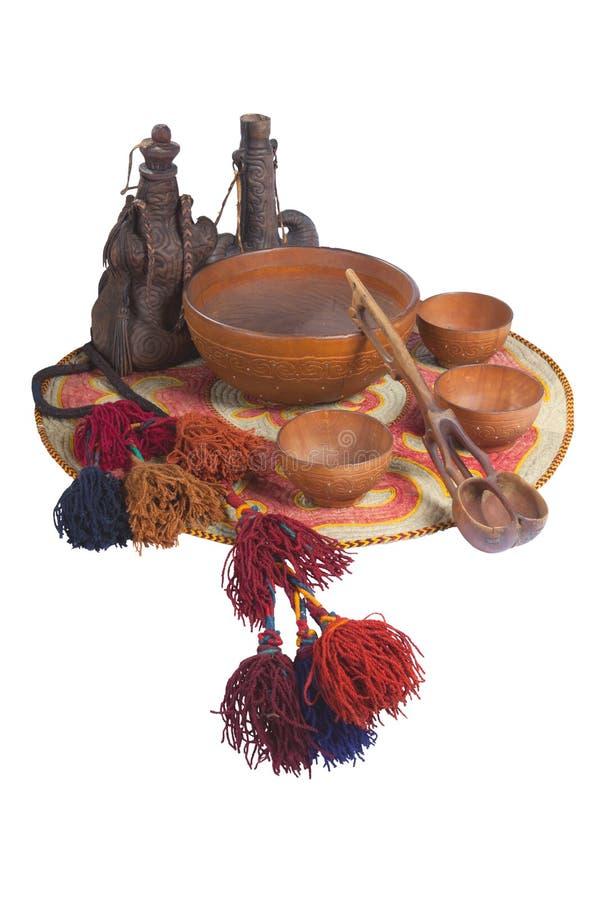 哈萨克人民族文化的主题的静物画, torsyk, kobyz,碗 免版税库存图片