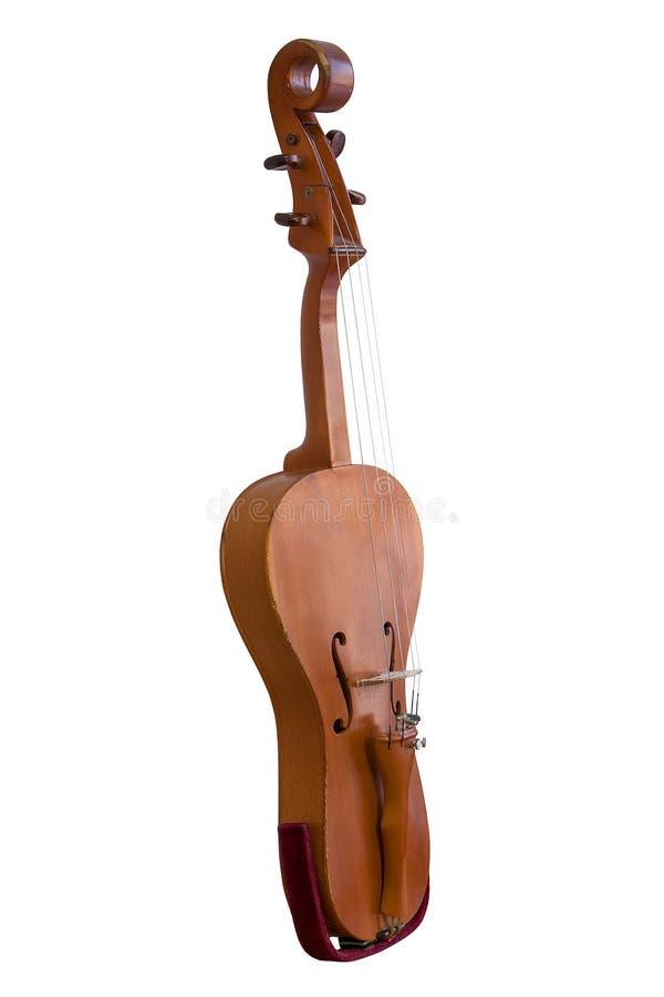 哈萨克人民间乐器kobyz -在白色背景隔绝的prima 免版税库存图片