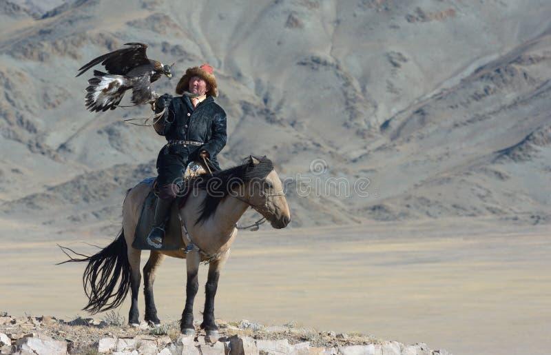 哈萨克人老鹰猎人2 库存照片